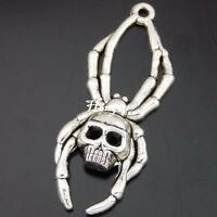 50568 Antique Silver Alloy Skull Spider Crafts Jewelry Pendant Charms 10PCS