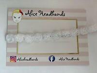 Baby Girl White Chiffon Flower Christening Headband Baptism Wedding Bow Cross