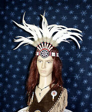 Opaska indiańska Pióropusz Indiański prawdziwe Pióra ręcznie wykonany z kości