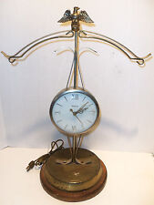 Vintage United Scales of Justice CLOCK Model 207 Gold Tone American Eagle WORKS