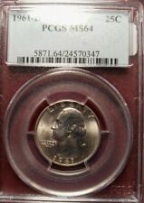 1961-D PCGS MS64 Washington Silver Quarter. #1165
