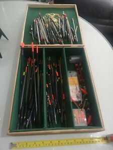 Antique Vintage Wooden Cigar/Tackle Box with assorted Old Floats.