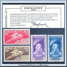 1935 Regno Salone Aeronautico n. 384/387 Centrati Certificato Nuovi Integri **