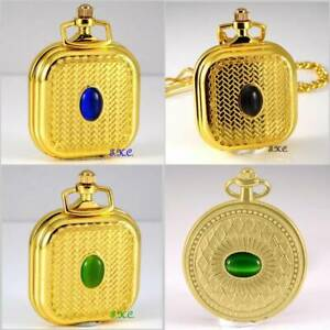 Vintage Luk Unusual Gold Pl Engraved Textured Pocket Fob Watch w/ Cats Eye Stone