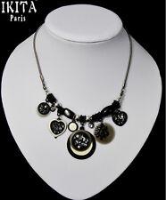 Luxus Statement Kette Halskette IKITA Paris Emaille Filigran Strass Herz Schwarz