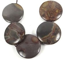 30mm Natural Coffee Jasper Coin Disc Beads (5)
