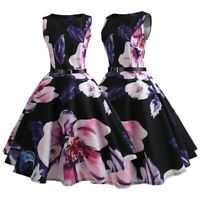 Womens Floral Sleeveless Evening Cocktail Party Vintage Retro Swing Midi Dress