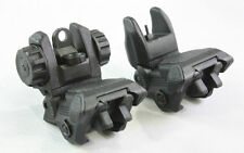 BLACK Polymer Flip Up Folding Auto Deploy Front & Rear BUIS Back Up Sight Set
