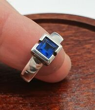 Princess Cut Sapphire Ring - Size P. Sterling Silver 925. Well made/heavy