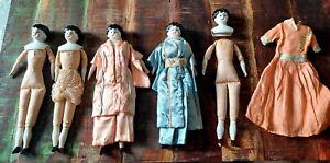"Antique China Doll Head Dolls Lot 9"" tall Marked Germany"