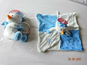 Christmas Snowman Toy Comforter, Baby Rattle 1st Xmas Comfort Blanket Newborn+