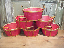 Lot 7 Round Red Basket Bowl Cane Fruit Flower Gift Pot Cover Christmas Anyday
