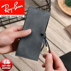 NEW RAY BAN Case Sunglasses Eyeglasses Pouch Unisex Soft Leather Reading Glasses