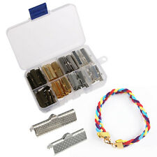 120pcs Ribbon Necklace Cord Crimp Ends Over Clip Clamps Tips Bead Cap Connector