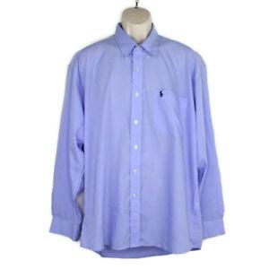 RALPH LAUREN Mens Light Blue Solid Collared Work Dress Shirt Size: 17- 34