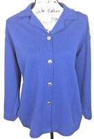 Blair Blazer Jacket Coat Long 14P Womens Solid Blue Sleeves Button Front Size