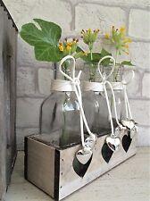 Tres frascos de vidrio en Corazón de Madera Vintage Cofre boda decoración Bud Vase
