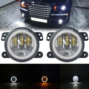Chrome 4 Inch Round Fog Lights 30W LED Fog Lamp For Dodge Ford Jeep Wrangler JK