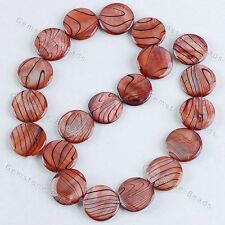 Copper MOP Polish Shell Zebra Veins Round Loose Beads