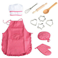 Practical Chef  Pink Dot Apron Set For Kids Kitchen Costume Role Play Kits Girls