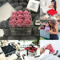 Large Extra Clear Acrylic Rose Flower Box with Cover Romantic Flowers Fresh-Keep