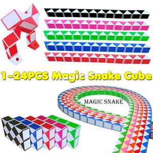 1-24PCS 24 Blocks Magic Snake Cube Mini Twist Puzzle Fidget Toys Speed Cubes UK