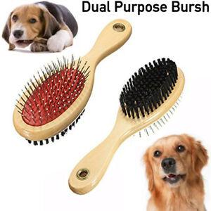 Double Sided Pet Dog Cat Grooming Brush Puppy Long & Short Hair Shedding Tool UK