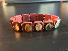 New Wooden Religious Christian Catholic Saint Mary Christ Bracelet Elastic