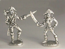 Pirates Fighting Male AND Female Sword Miniature Pewter Figurine *Retired* RARE