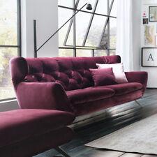 Sofa Sixty 2,5-Sitzer Couch Bezug Velour Stoff purple Gestell Chrom Länge 200 cm