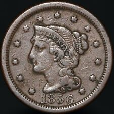 More details for 1856 | u.s.a. braided hair one cent 'upright 5' | copper | coins | km coins