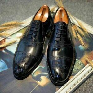 Chaussures classiques à lacets en cuir noir Oxford pour hommes faits à la main