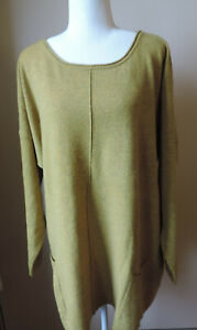 WOOLOVERS wool cashmere tunic jumper size XL, 2XL, yellow marl