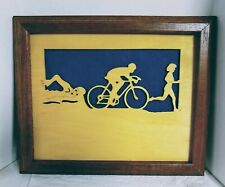Handcrafted Female Triathlete Framed Silhouette- Free Shipping