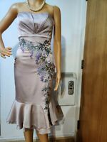 KAREN MILLEN FITTED FLORAL EMBELLISHED DRESS SIZE UK 6 US 2 IVORY 94% SILK 6% EL