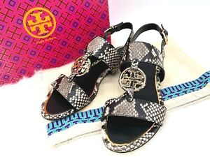 NIB $278 TORY BURCH Miller Metal Logo Snakeskin Leather Two Band Sandals In 8.5M