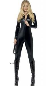 Ladies Fever Miss Whiplash Costume Halloween Catsuit Black Fancy Dress Outfit