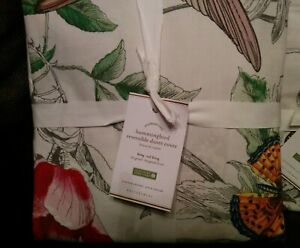 1 Pottery Barn Hummingbird KING Duvet Cover only NWT Red
