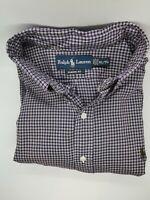 XL Ralph Lauren MENS Dress - Shirt long Sleeves - Purple Checked Pre-owned - EUC