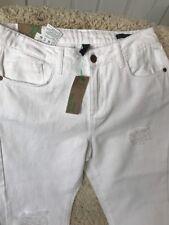 Ladies White Jeans 27W 28L Designer Benetton Boyfriend Style 100% Cotton New WTs