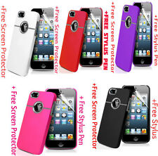 Deluxe Hard Case Cover W Chrome for Apple iPhone 5S 5 SE + Protector + Stylus