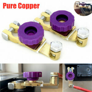 2x Pure Copper Car Battery Terminal Disconnect Switch Link Heavy Duty Universal
