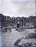 TUNISIE El Jem Djem Amphithéâtrec1900, NEGATIF Photo Stereo Plaque Verre VR10L6