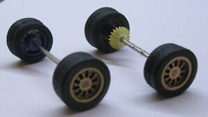 1/32 -REAR AXLE,TIRES,WHEELS,GEARS for SCALEXTRIC-OR SCRATCH BUILDING