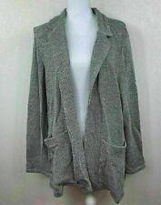 Style & Co Women Sweater Cardigan Pocket Black White Marled Sz Large