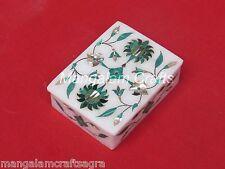 Marble Jewelry Box Inlay Art Work Pietra Dura White Stone Handmade Home Decor
