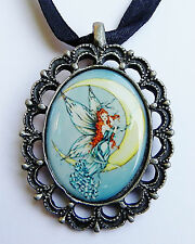 MOON BLOSSUMS FAERIE Fairy Cameo Necklace Sabrina the Ink Witch faery pendant