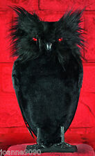 Halloween Stuffed Black Feather Owl Bird Prop Decoration With Red Light Up Eyes