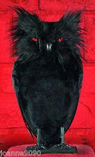 Halloween relleno Negro Pluma Búho Pájaro Accesorios Decoración Con Rojo