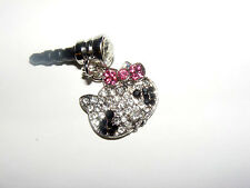 hello kitty Sparkle phone charm plug anti-dust 3.5mm iphone 4 4s 5G MP3 player